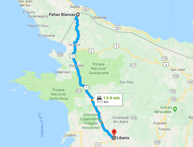 Map of Costa Rica - Liberia