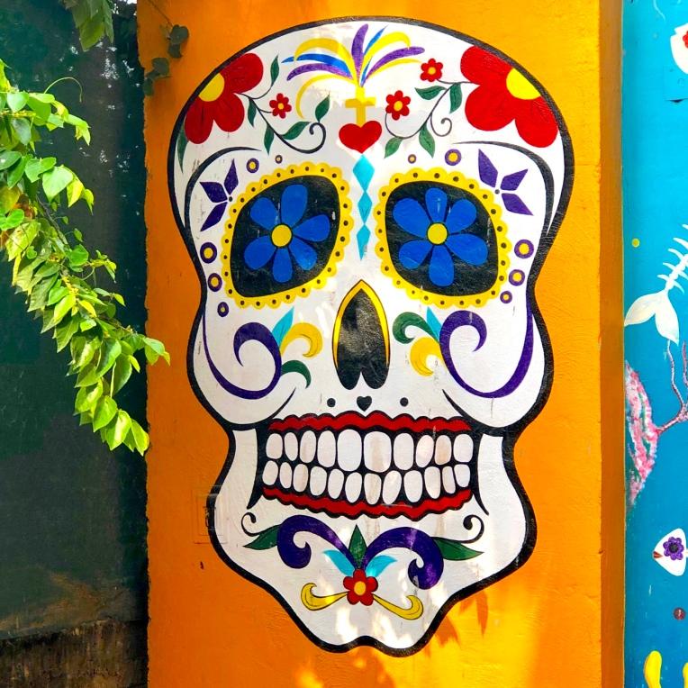 Yellow skull artwork